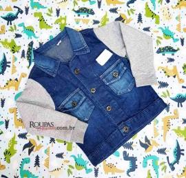 Jaqueta Jeans Mangas em Moletom Infantil Masculina