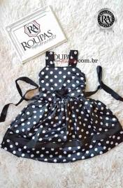 Vestido Infantil Cetim de Bolinha