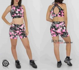 Conjunto Shorts E Top Fitness Estampado