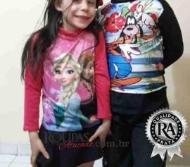 Camisa Proteção UV Infantil Longa de Personagens 2 a 6 anos