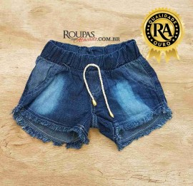 Short Jeans Infantil Cós Elástico 4 a 8 anos
