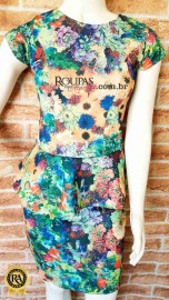 Vestido Feminino Peplum Estampado Neoprene